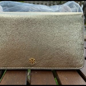 crinkle leather metallic continental wallet